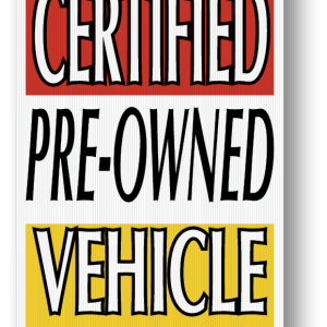 certified pre owned vehicle sign
