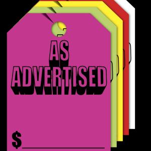 as advertised hang tags