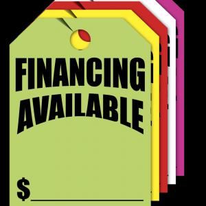 financing available hang tags
